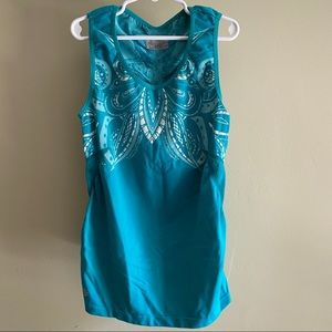 Athleta Ruched Workout Tank size XS turquoise/teal
